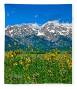 Teton Peaks And Flowers Fleece Blanket
