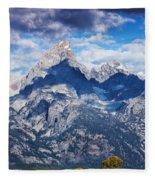 Teton Range And Two Trees Fleece Blanket