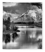 Tetons In Black And White Fleece Blanket