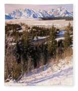 Tetons In The Distance Fleece Blanket