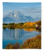 Tetons With Moose Fleece Blanket