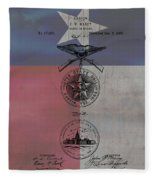 Texas Badge Patent On Texas Flag Fleece Blanket