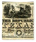 Texas Banknote, 1840 Fleece Blanket