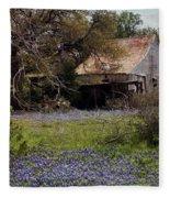 Texas Bluebonnets With Old Abandoned Shack Fleece Blanket