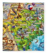Texas Illustrated Map Fleece Blanket