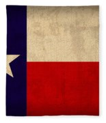 Texas State Flag Lone Star State Art On Worn Canvas Fleece Blanket