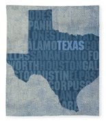 Texas Word Art State Map On Canvas Fleece Blanket