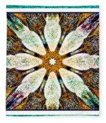 Textured Flower Kaleidoscope Triptych Fleece Blanket