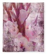 Textured Pink Gladiolas Fleece Blanket