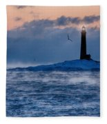 Thacher Island Lighthouse Seagull Passes Fleece Blanket