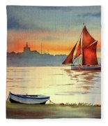 Thames Barge At Maldon Essex Fleece Blanket