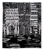 Thames In Winter Fleece Blanket