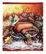 Thanksgiving Autumnal Collage Fleece Blanket