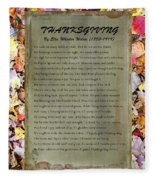 Thanksgiving By Ella Wheeler Wilcox Fleece Blanket