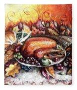 Thanksgiving Dinner Fleece Blanket