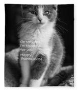 Thanksgiving Kitty Bw Fleece Blanket