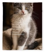 Thanksgiving Kitty Fleece Blanket