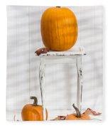 Thanksgiving Pumpkin Display Fleece Blanket
