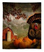 Thanksgiving Turkey Among Pumkins Fleece Blanket