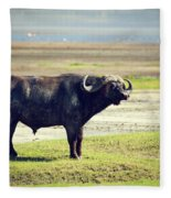 The African Buffalo. Ngorongoro In Tanzania. Fleece Blanket