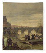 The Ambulance De La Presse At Joinville During The Siege Of Paris Oil On Canvas Fleece Blanket