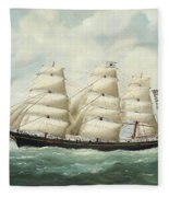 The American Ship Olive S Southard Of San Francisco In French Waters Off Le Havre Fleece Blanket