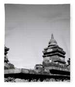 The Ancient Stupas Of Borobudur Fleece Blanket