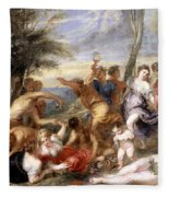 The Andrians A Free Copy After Titian Fleece Blanket