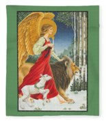 The Angel The Lion And The Lamb Fleece Blanket