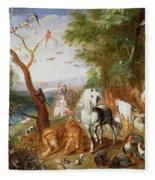 The Animals Entering Noahs Ark Panel Fleece Blanket