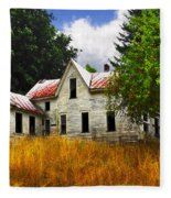 The Apple Tree On The Hill Fleece Blanket