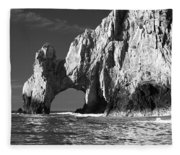 The Arch Cabo San Lucas In Black And White Fleece Blanket
