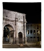 The Arch Of Constantine And The Colosseum At Night Fleece Blanket