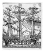The Ark Raleigh The Flagship Of The English Fleet From Leisure Hour Fleece Blanket
