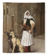The Arnaut With Two Whippets Fleece Blanket