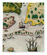 The Arrival Of The English In Virginia Fleece Blanket