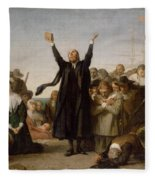 The Arrival Of The Pilgrim Fathers Fleece Blanket