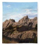 The Badlands In South Dakota Oil Painting Fleece Blanket