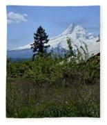 The Barn And  Mt. Hood Fleece Blanket