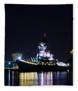 The Battleship New Jersey At Night Fleece Blanket
