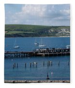 The Bay At Swanage Fleece Blanket