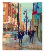 The Bay Department Store Downtown Montreal University And St Catherine Winter City Scene C Spandau  Fleece Blanket