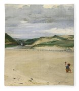 The Beach At Ambleteuse, 1869 Oil On Canvas Fleece Blanket