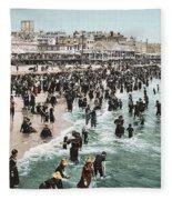 The Beach At Atlantic City 1902 Fleece Blanket