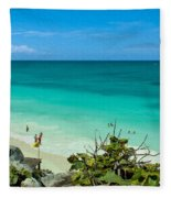 The Beach At The Tulum Ruins Fleece Blanket
