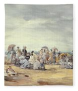 The Beach At Trouville, 1873 Fleece Blanket