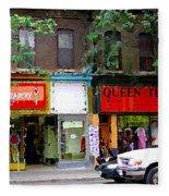 The Beadery Craft Shop  Queen Textiles Fabric Store Downtown Toronto City Scene Paintings Cspandau  Fleece Blanket