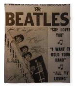 The Beatles Ed Sullivan Show Poster Fleece Blanket