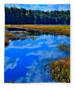 The Beautiful Cary Lake - Old Forge New York Fleece Blanket