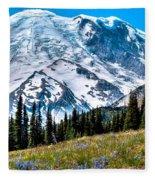 The Beautiful Mount Rainier At Sunrise Park Fleece Blanket